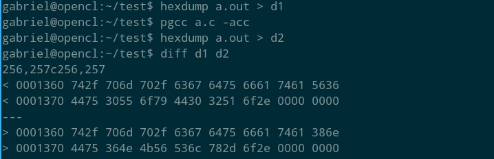 hexdump both executables and diff